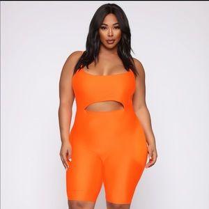 Fashion Nova Curve Orange Biker Romper Size 3x